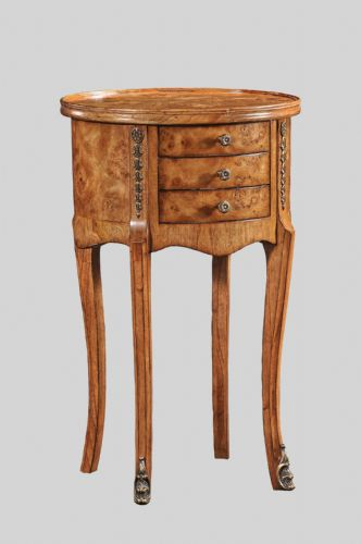 Oval 3 Drawer Side Table or Bedside in Burr Walnut